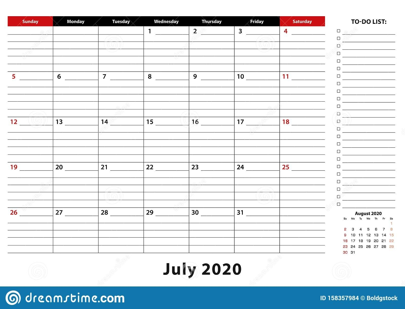 July 2020 Monthly Desk Pad Calendar Week Starts From Sunday