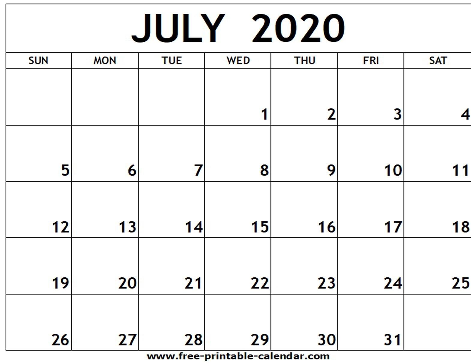 July 2020 Printable Calendar - Free-Printable-Calendar