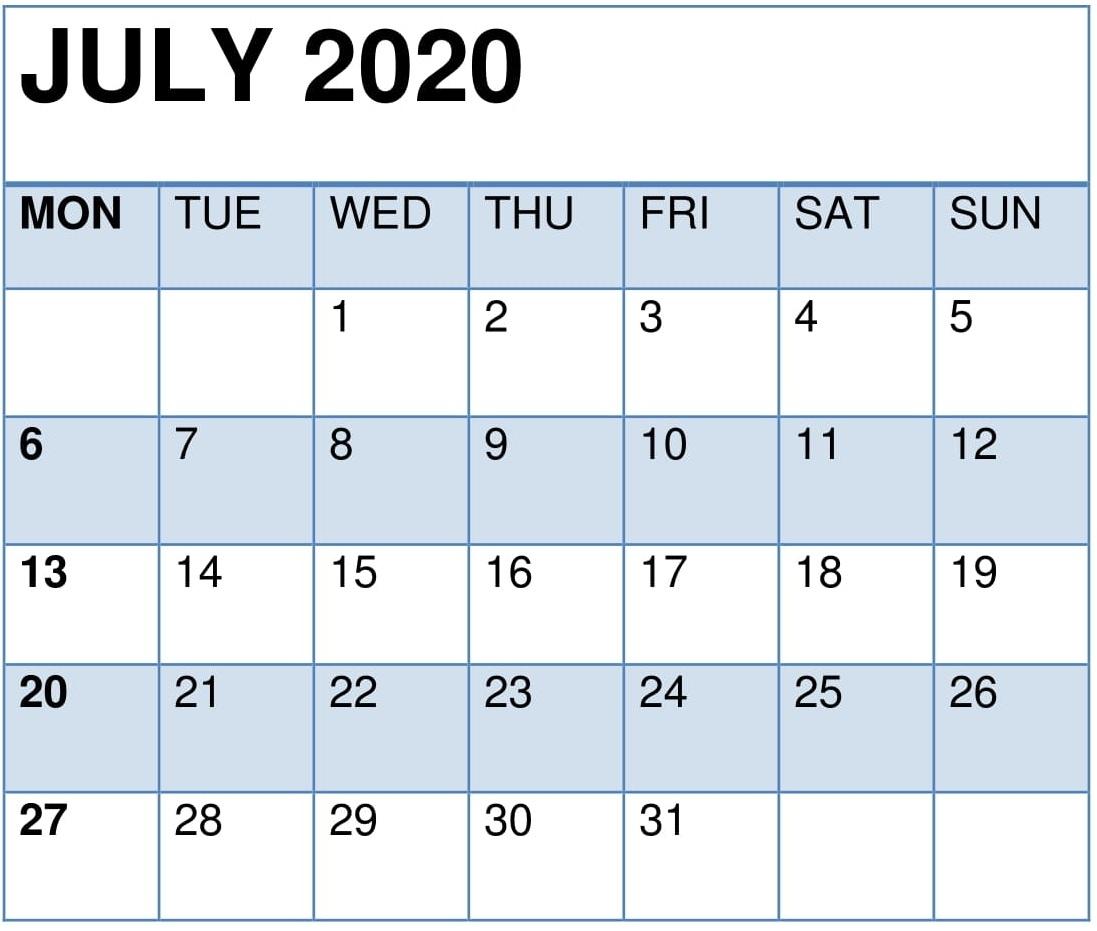July 2020 Printable Calendar Pdf Planner – Free Latest