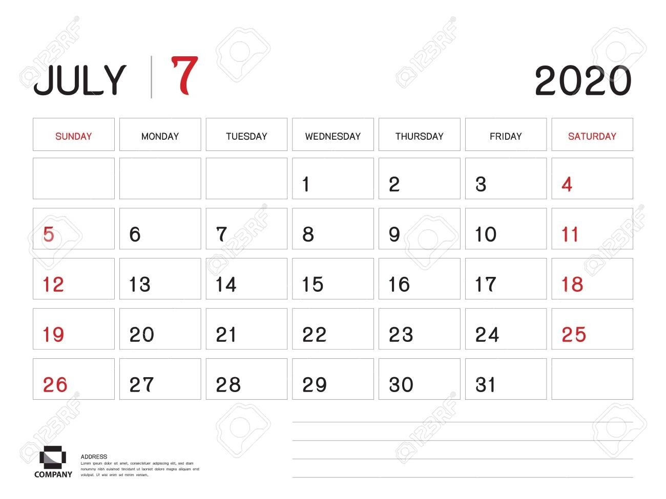 July 2020 Year Template, Calendar 2020, Desk Calendar Design,..