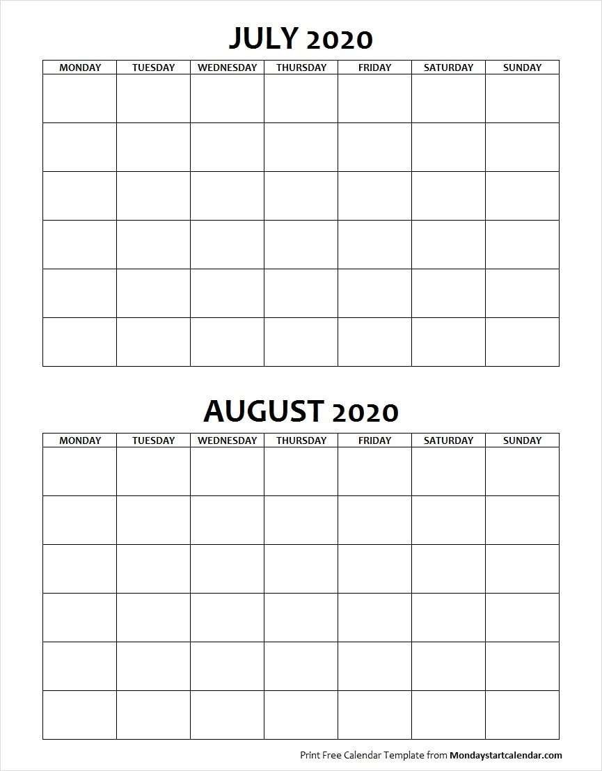 July And August 2020 Calendar Blank Printable Archives