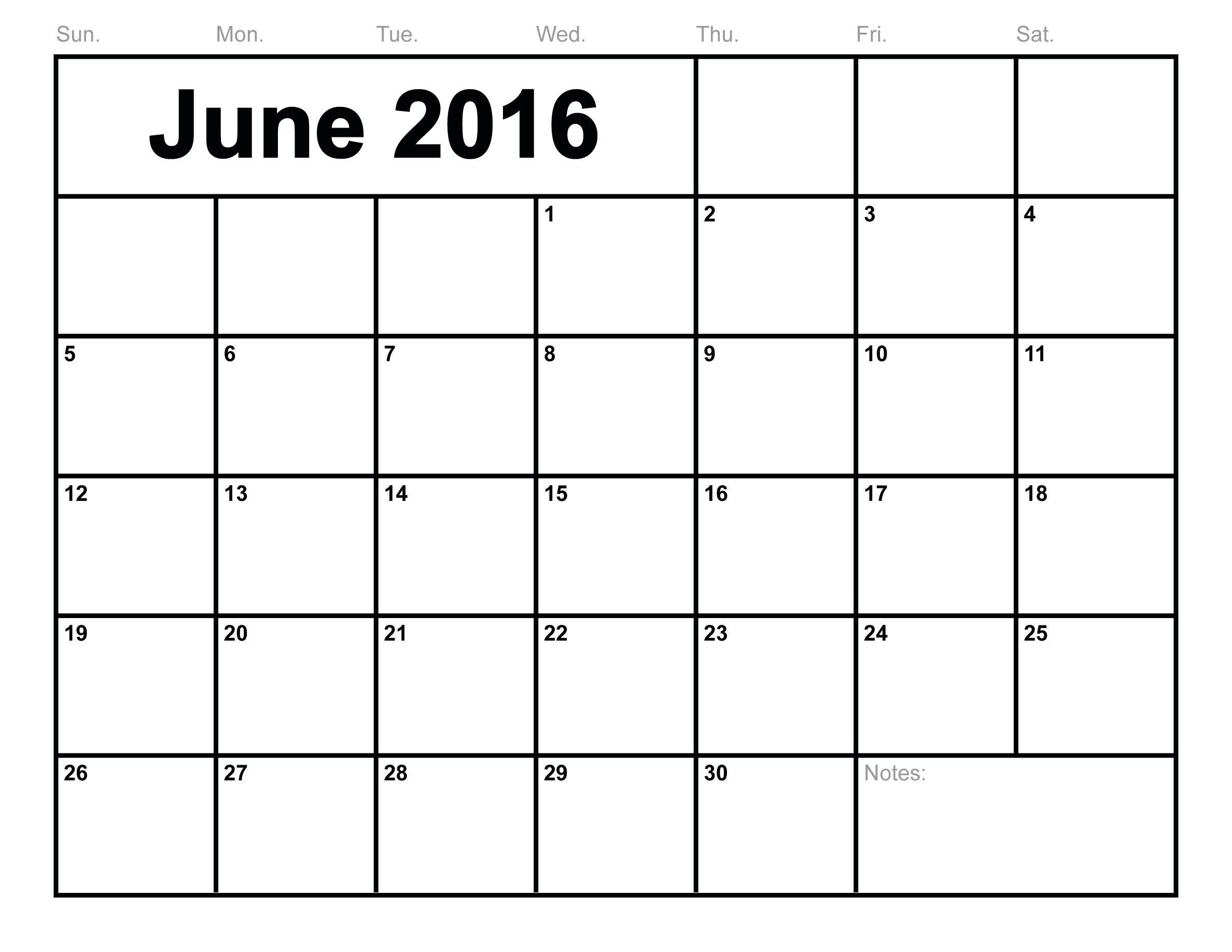 June 2016 Calendar Printable Monthly Blank Calendar 2016