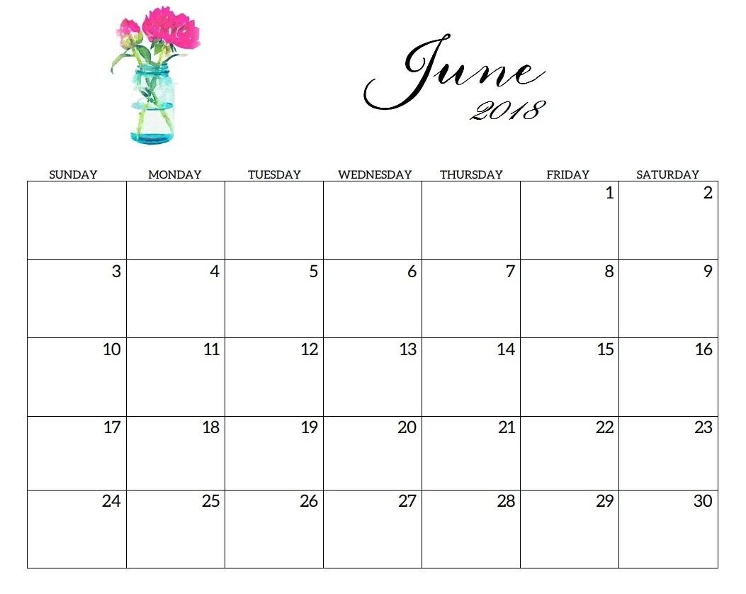 June 2018 Calendar | Max Calendars