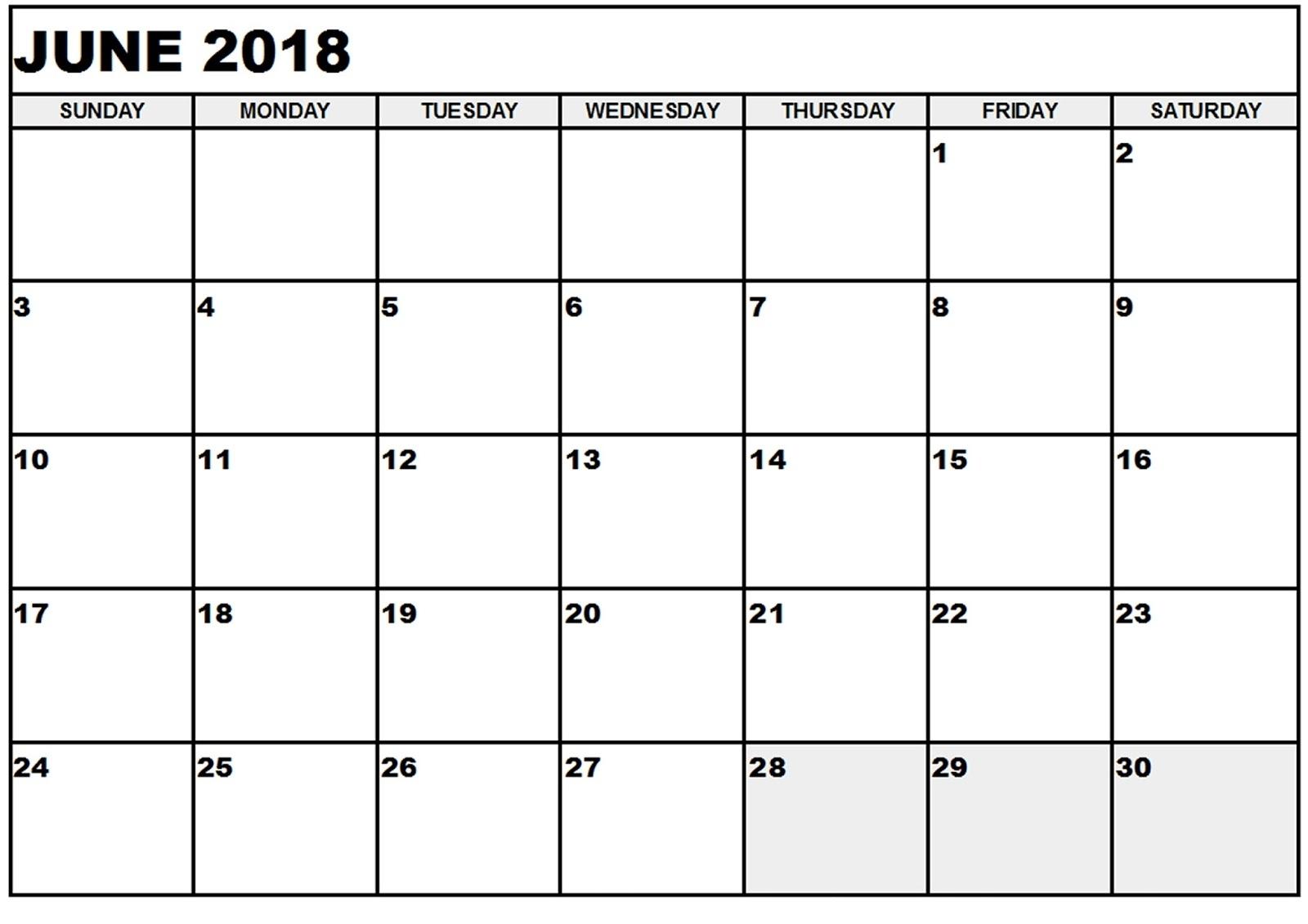 June 2018 Calendar Printable Templates - Calendar Office