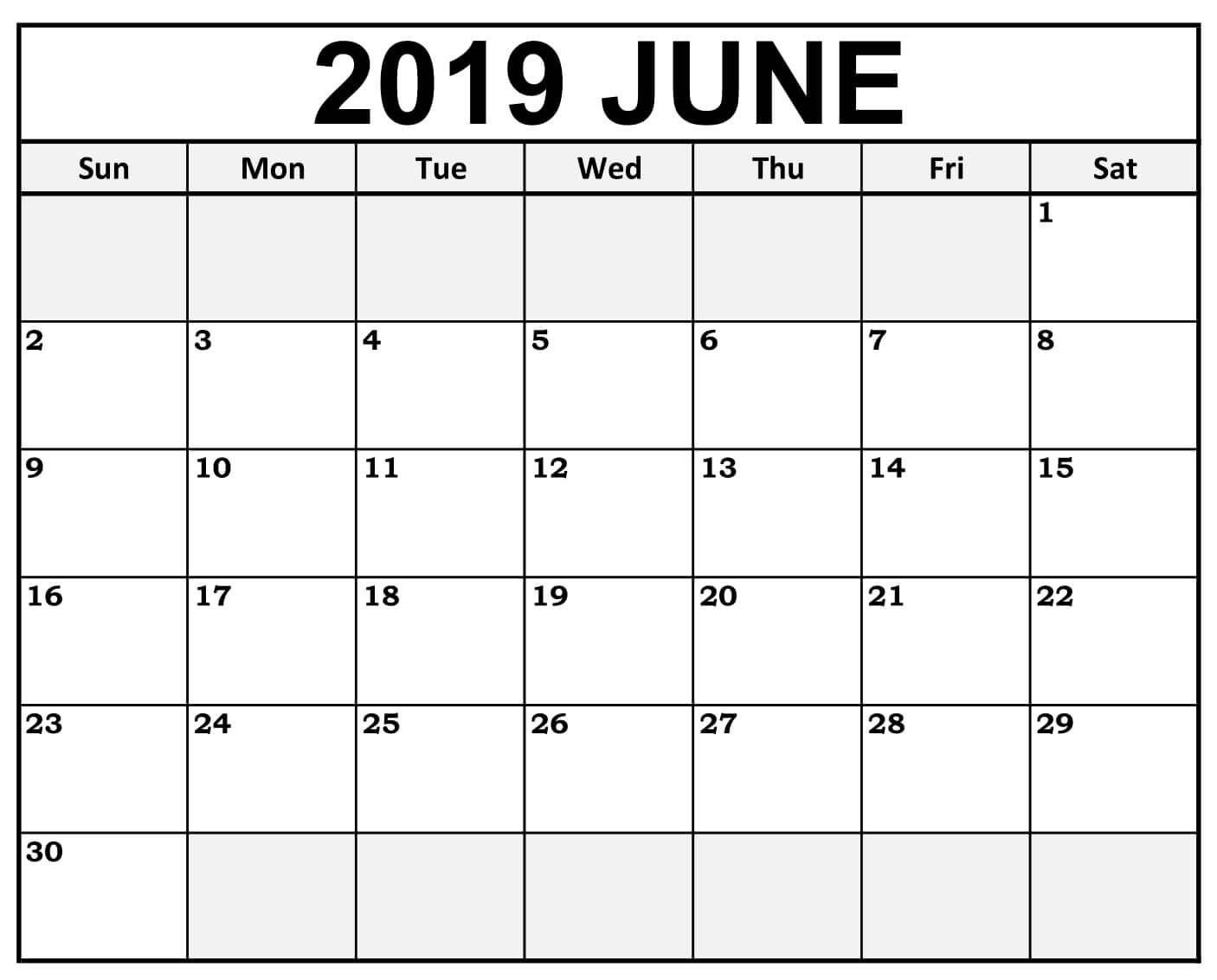 June 2019 Calendar #weekend #highlighted In 2019 | September