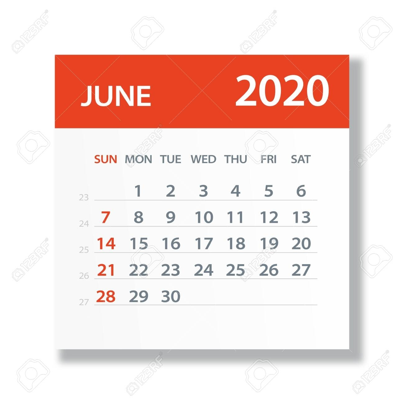 June 2020 Calendar Leaf - Illustration. Vector Graphic Page