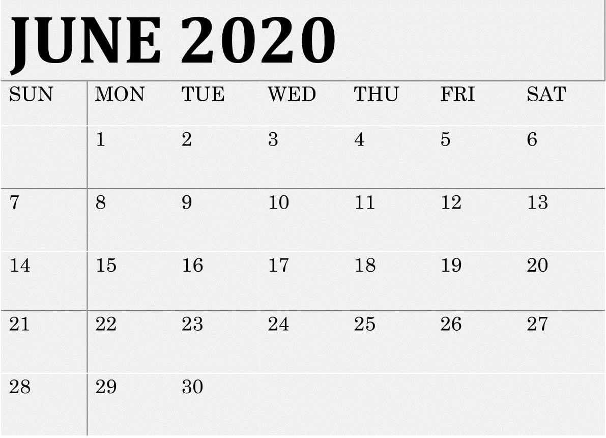 June 2020 Calendar Monthly Template - Latest Printable