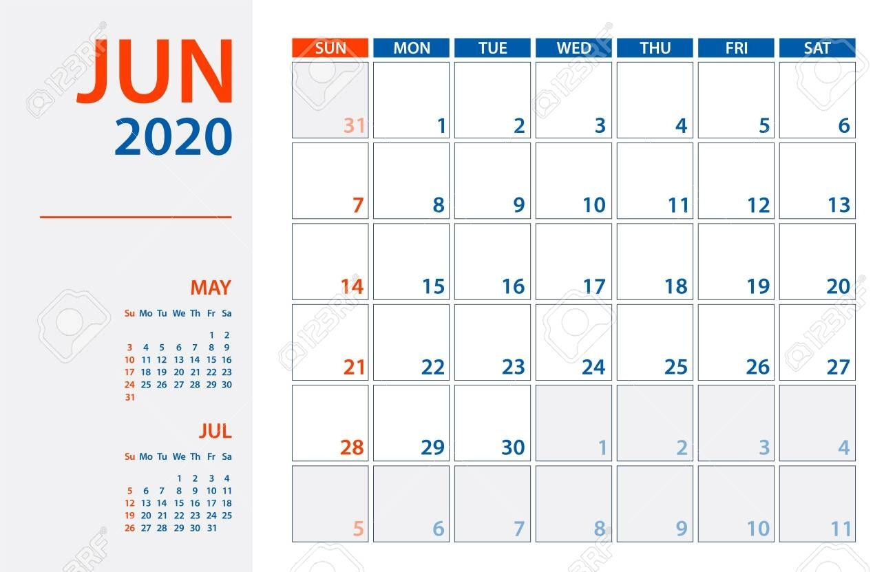 June 2020 Calendar Planner - Vector. Template Mock Up