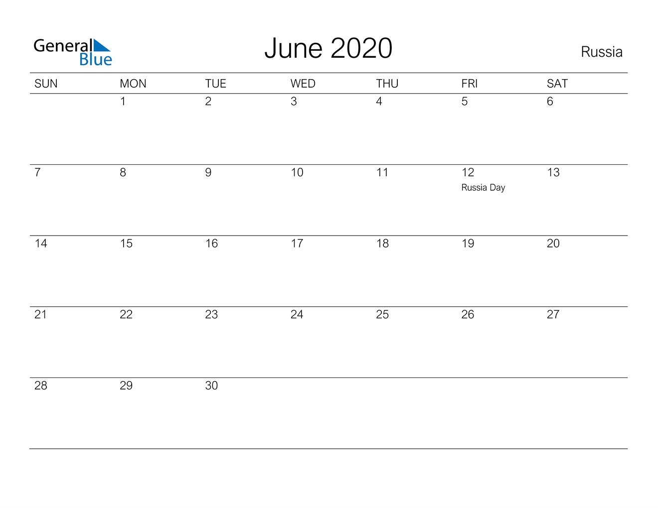 June 2020 Calendar - Russia