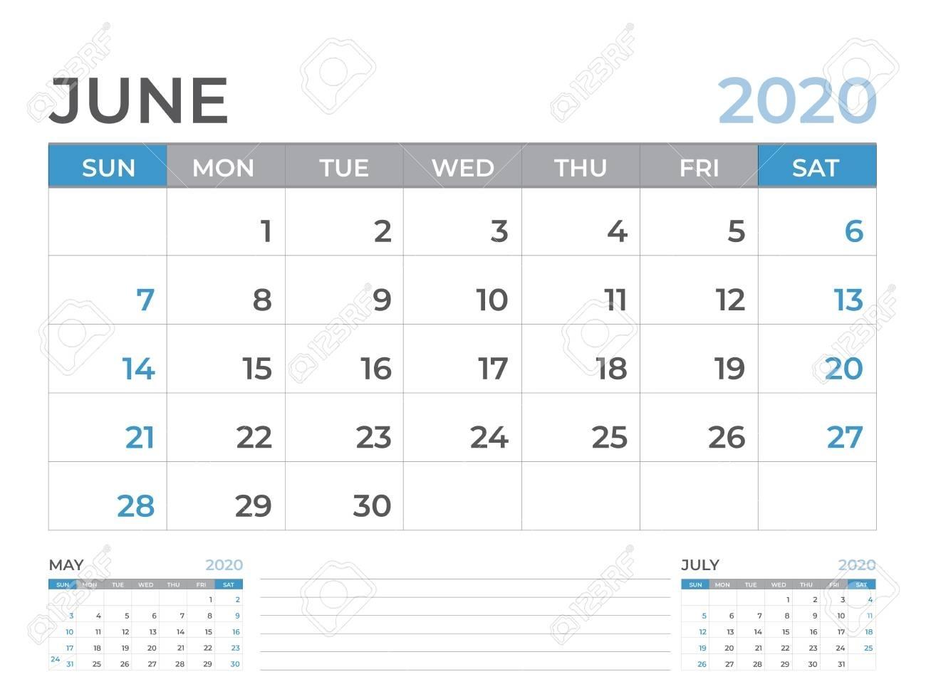 June 2020 Calendar Template, Desk Calendar Layout Size 8 X 6..