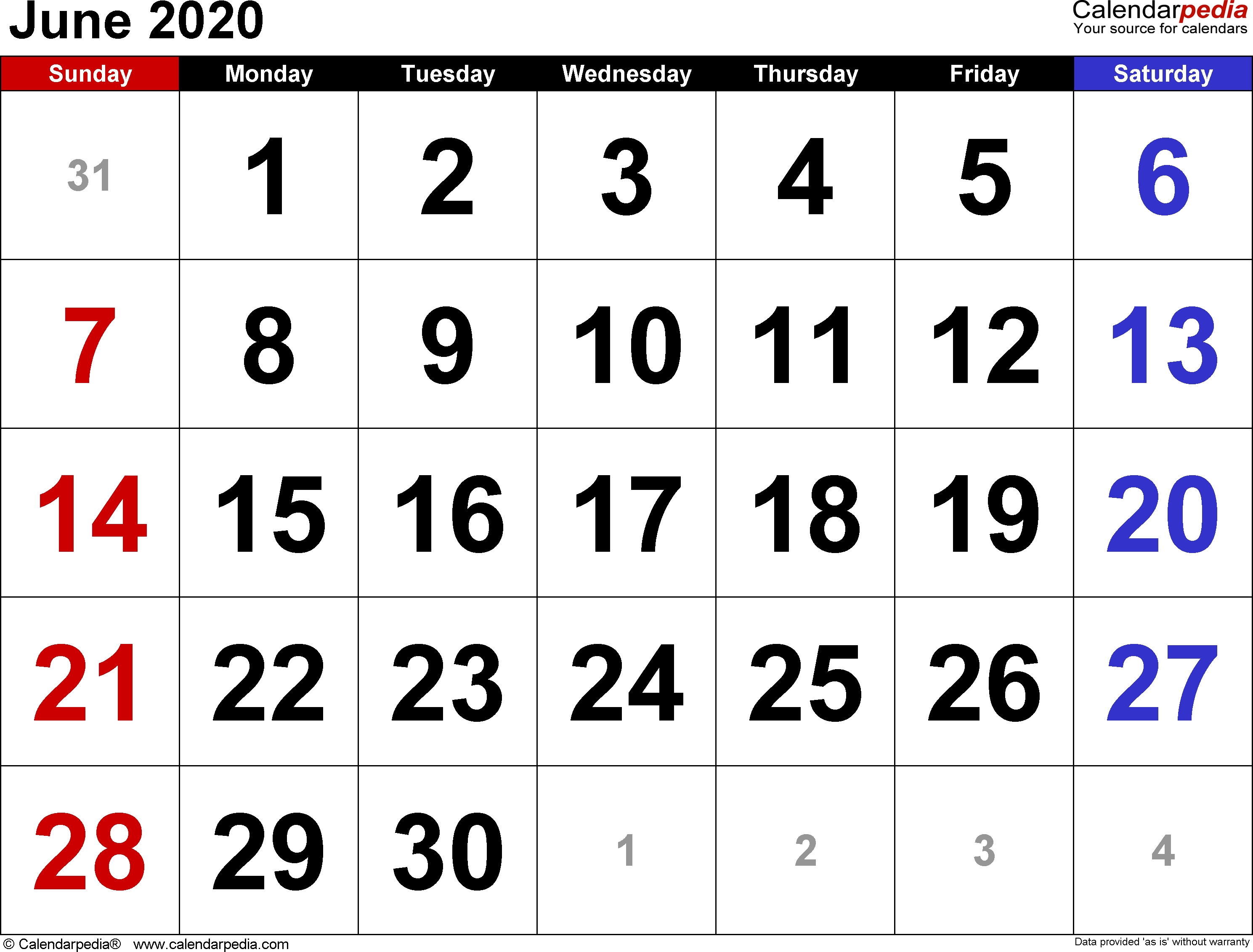 June 2020 Calendars For Word, Excel & Pdf