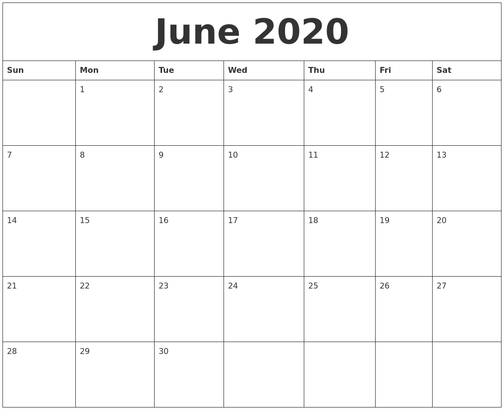 June 2020 Large Printable Calendar