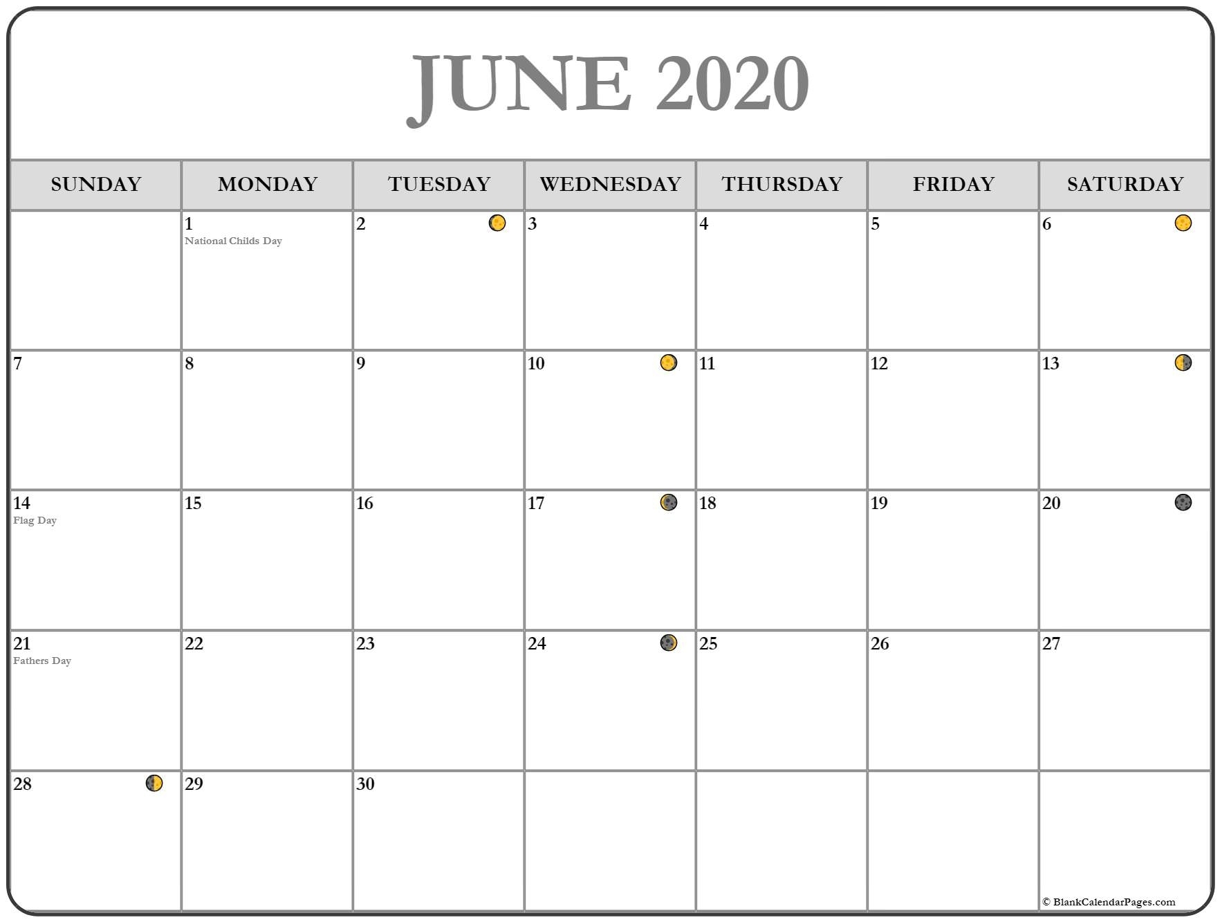 June 2020 Lunar Calendar | Moon Phase Calendar