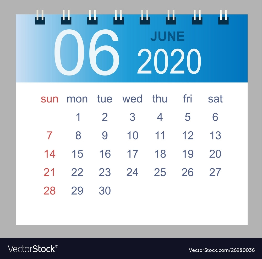 June 2020 Monthly Calendar Template 2020 Year In