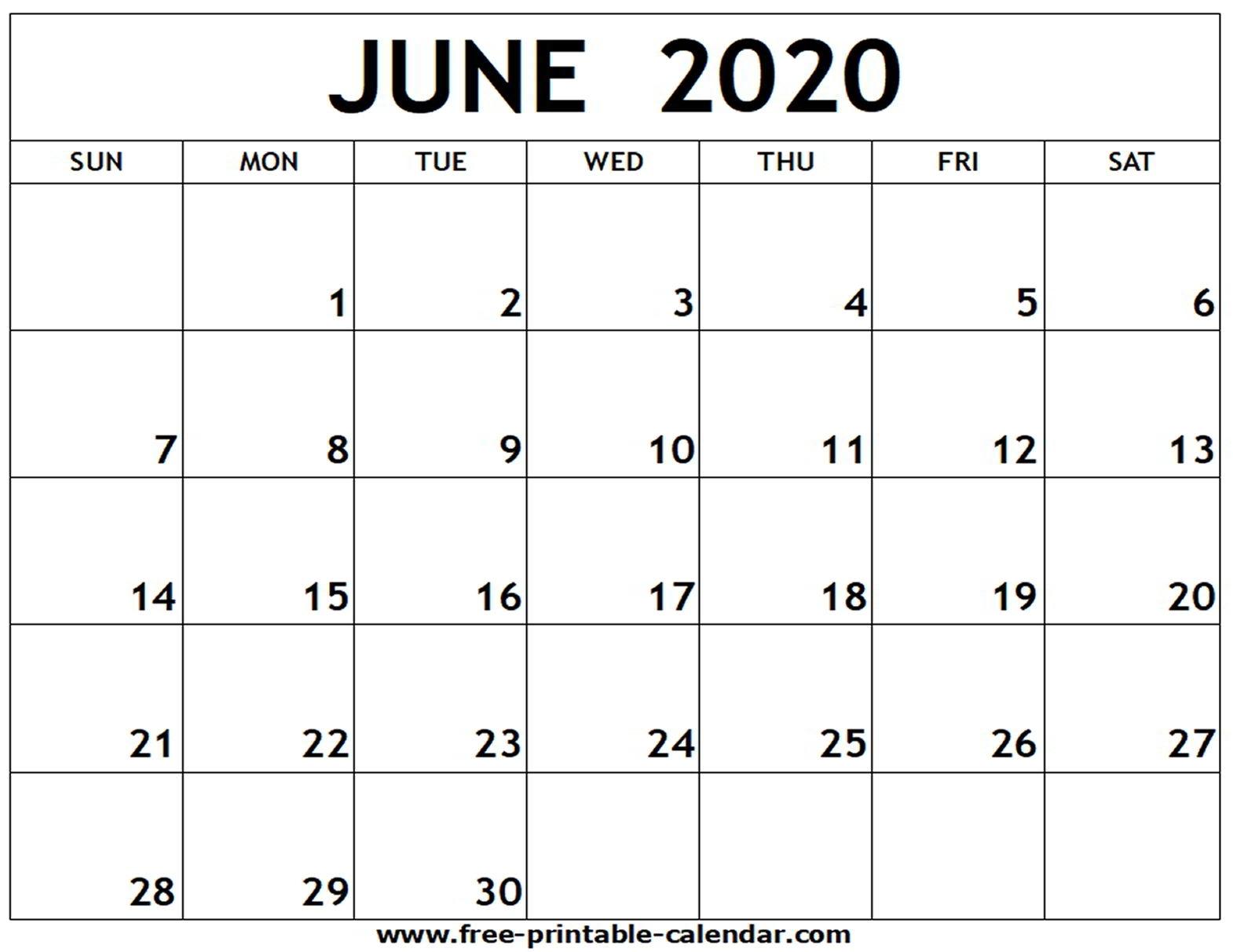 June 2020 Printable Calendar - Free-Printable-Calendar