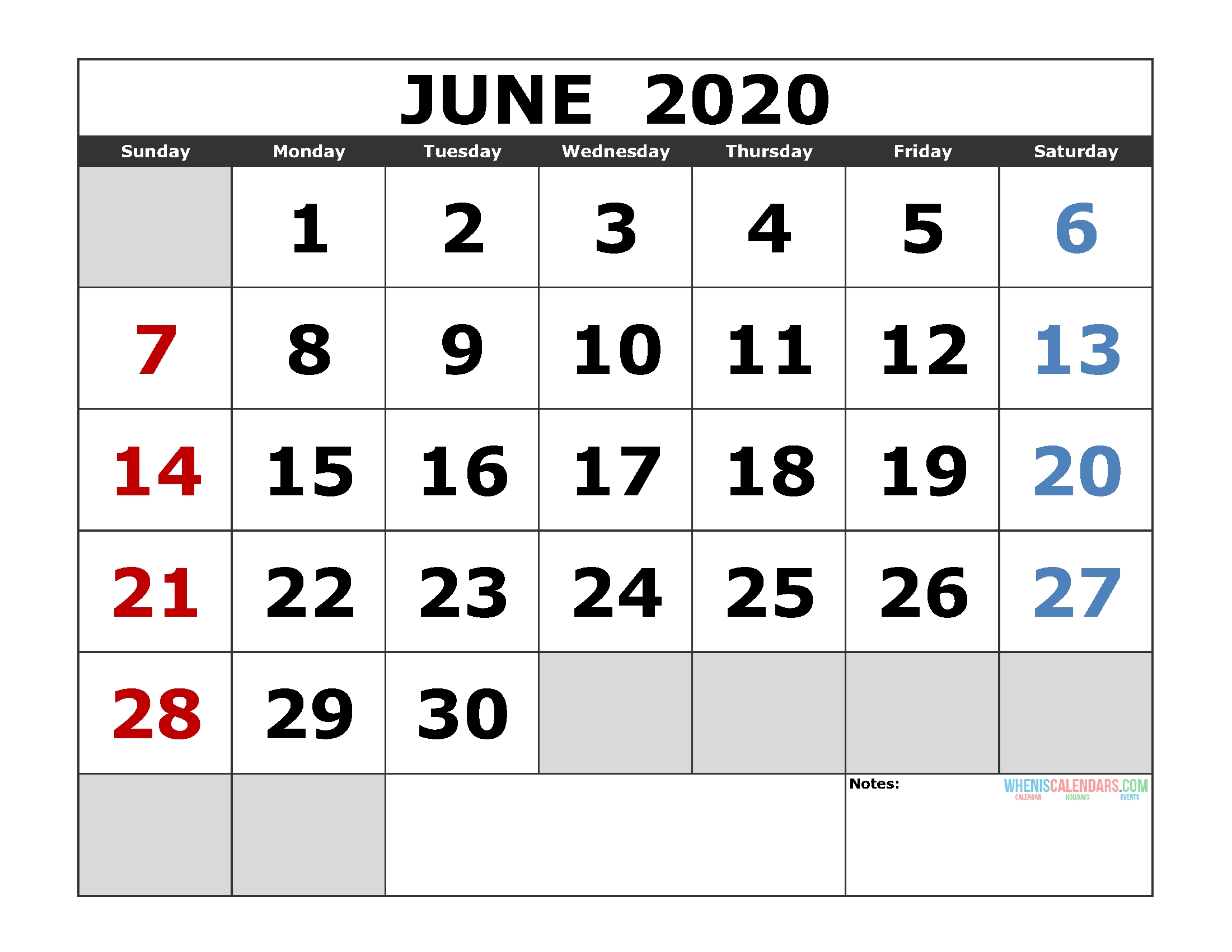 June 2020 Printable Calendar Template Excel, Pdf, Image [Us
