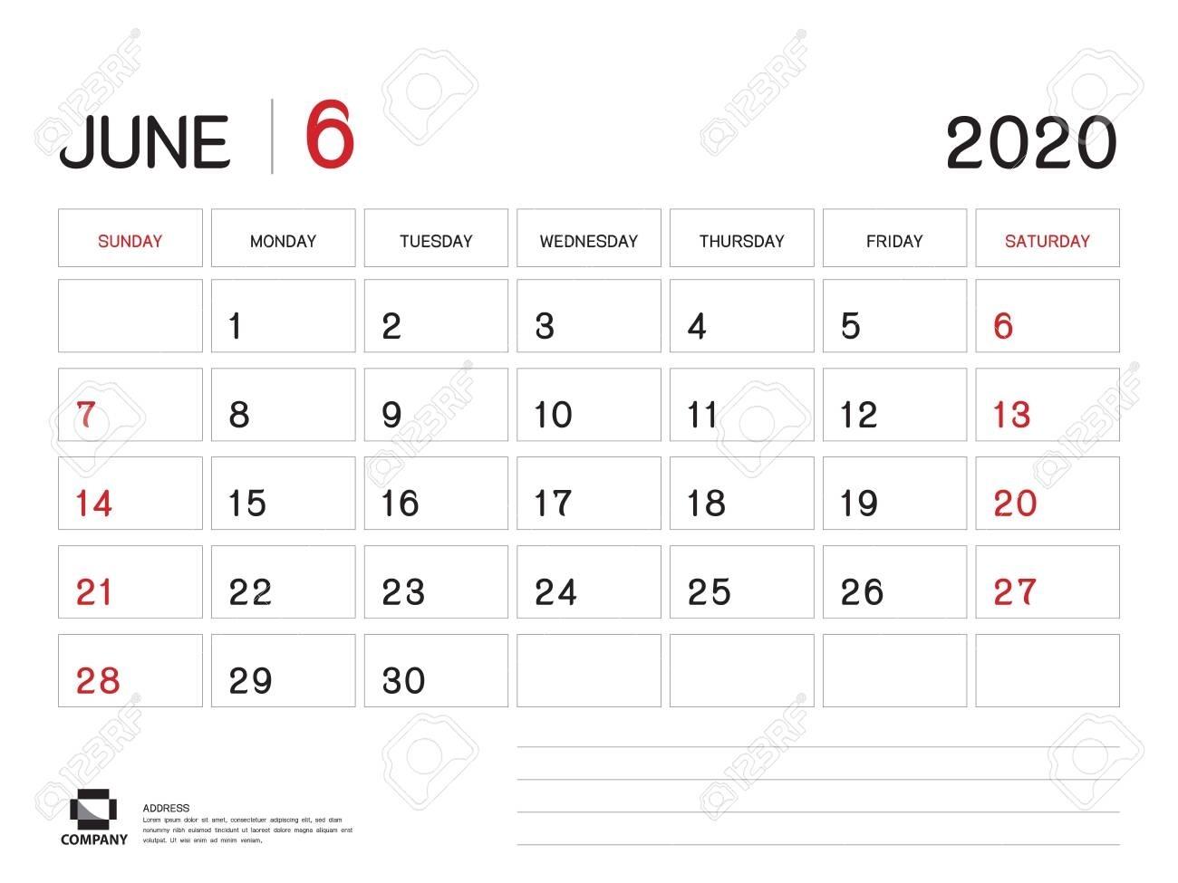 June 2020 Year Template, Calendar 2020, Desk Calendar Design,..