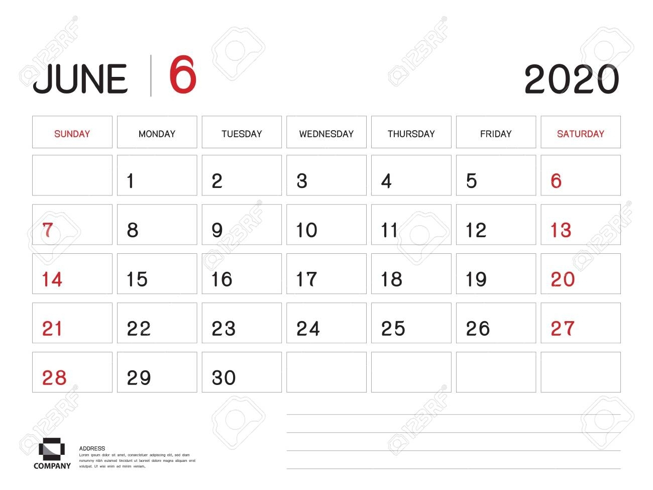 June 2020 Year Template, Calendar 2020, Desk Calendar Design,..