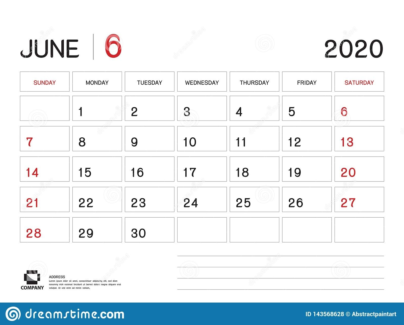 June 2020 Year Template, Calendar 2020 Vector, Desk Calendar
