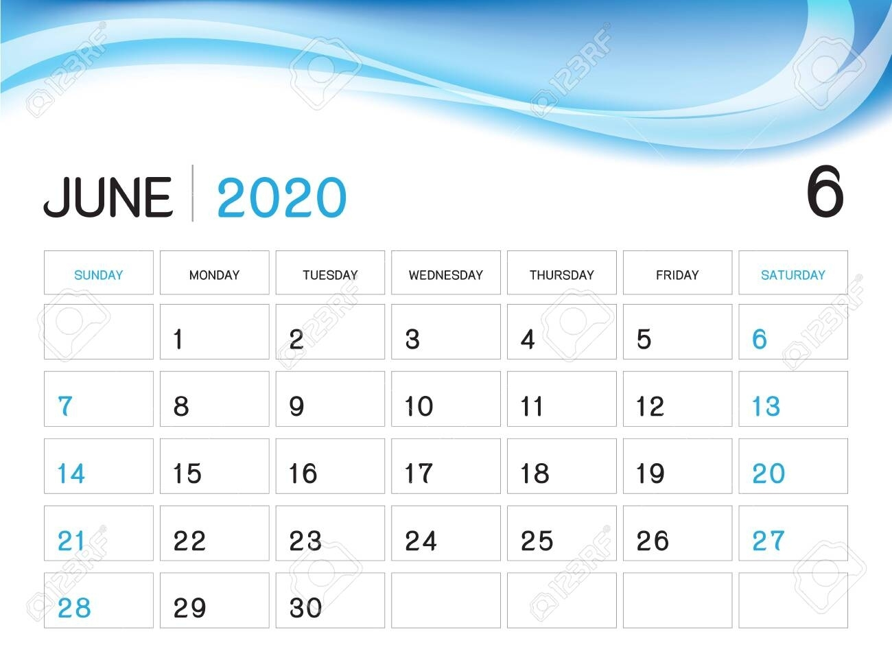 June 2020 Year Template, Calendar 2020 Vector, Desk Calendar..