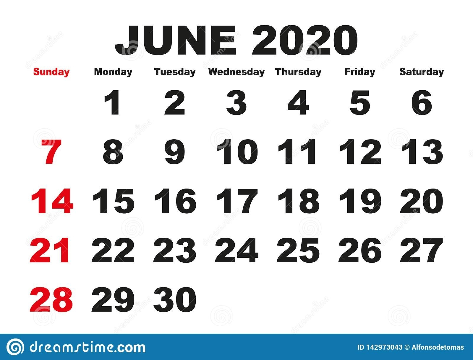 June Month Calendar 2020 English Usa Stock Vector