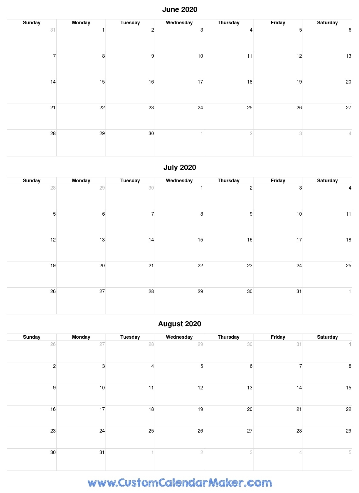 June To August 2020 Calendar