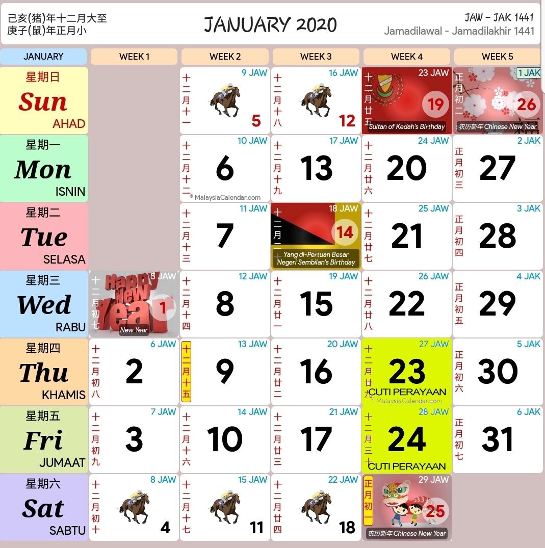 Kalendar 2020 Dan Cuti Sekolah 2020 - Rancang Percutian Anda
