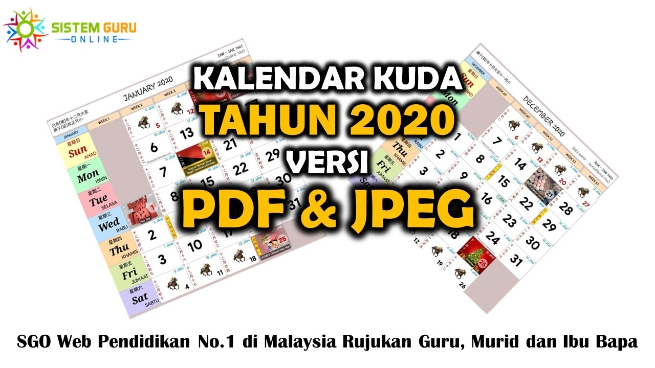 Kalendar Kuda Tahun 2020 Versi Pdf Dan Jpeg