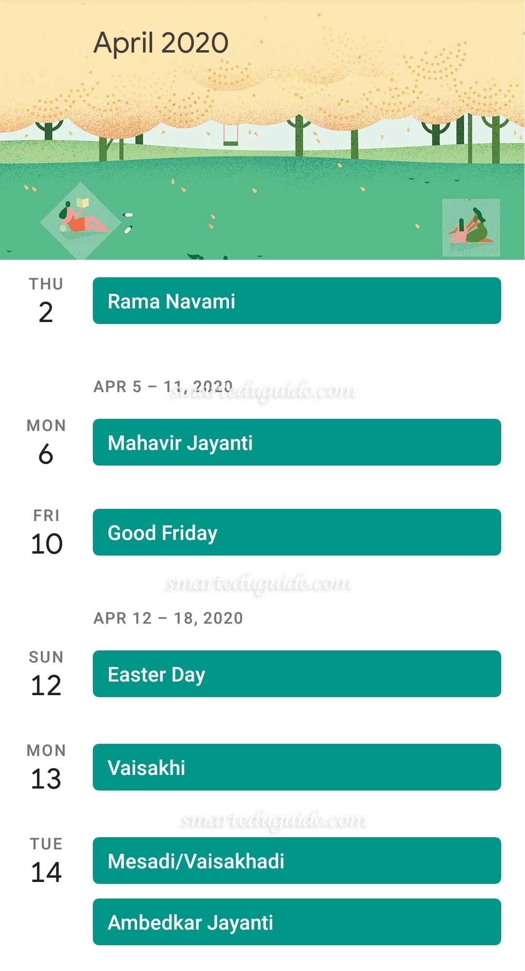 Kannada Calendar April 2020 | Seg