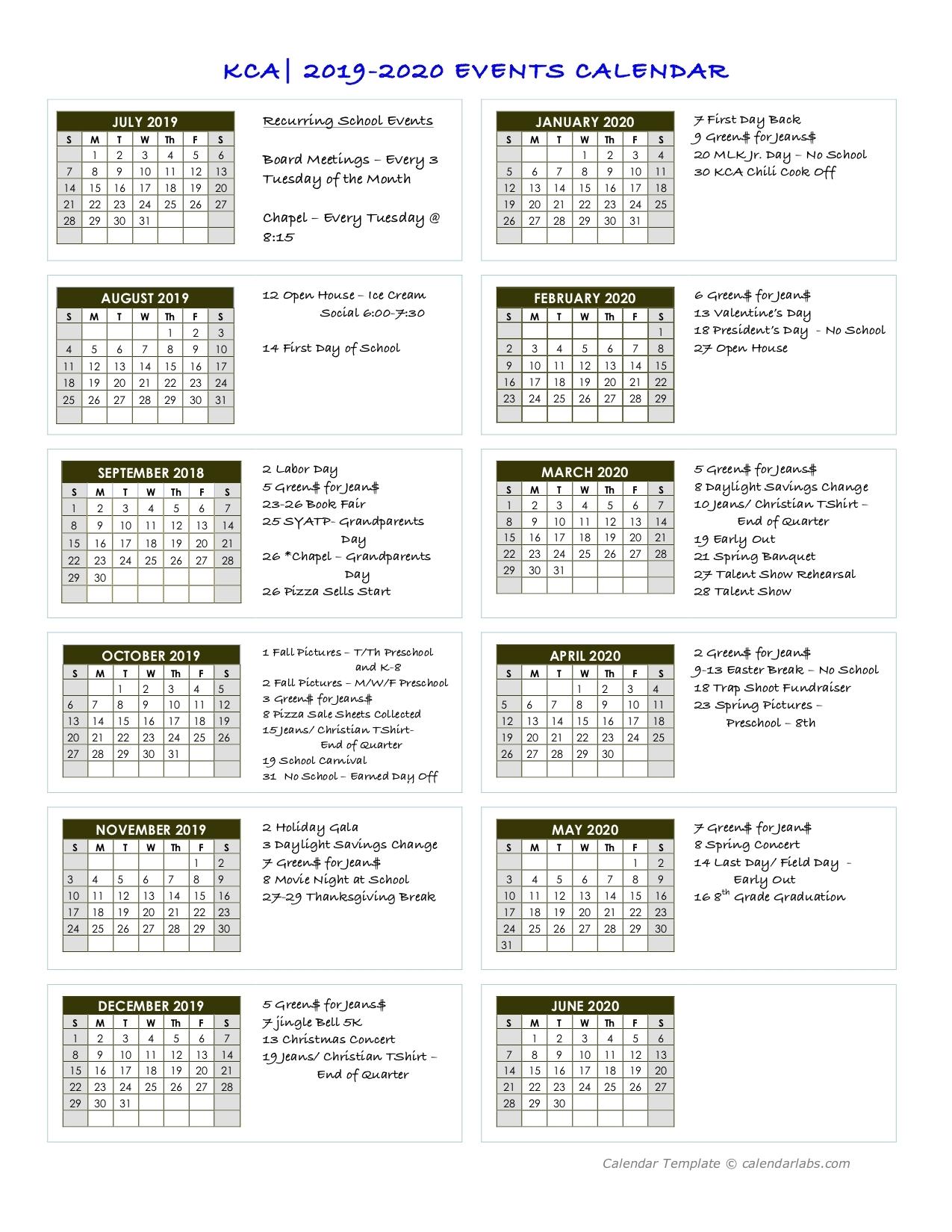 Kca| 2019-2020 Events Calendar
