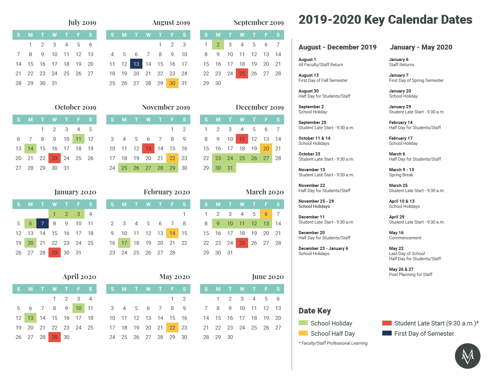 Key Calendar Dates 2019-2020 – Mount Vernon Lookup