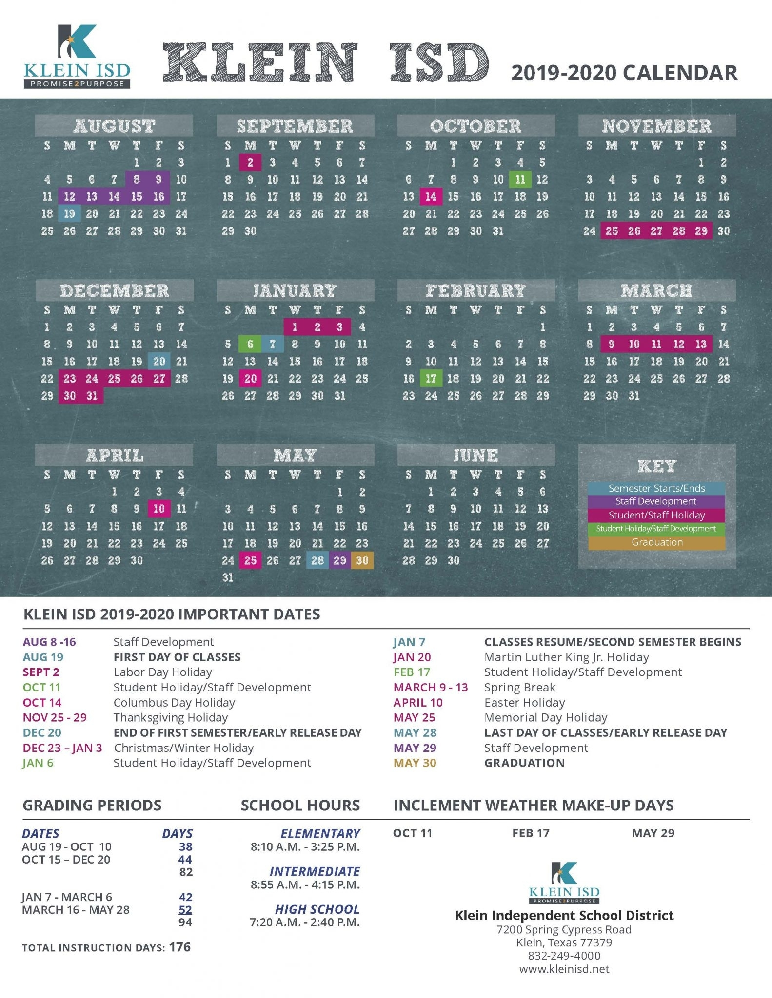 Klein Isd Announces Calendar For 2019-2020 School Year