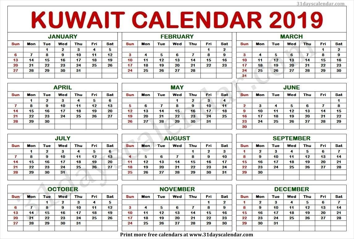 Kuwait Calendar 2019 In 2019 | Calendar 2019 Template