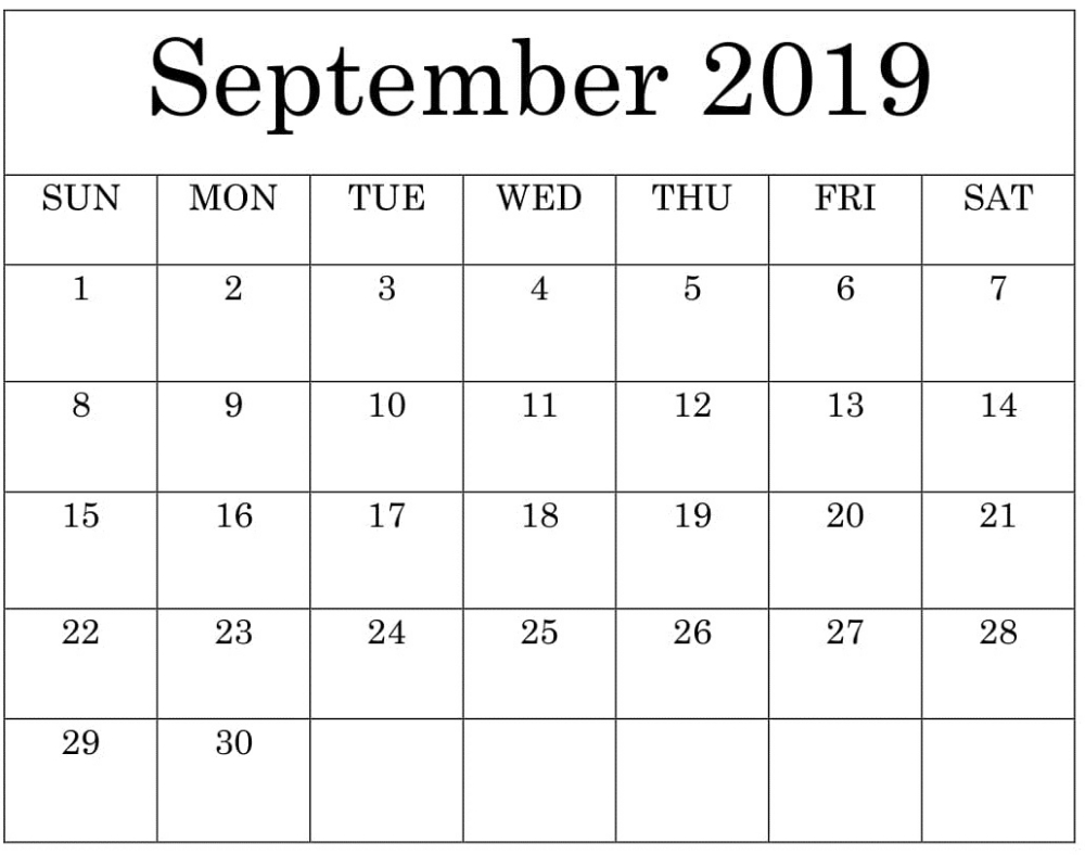 Large Print Calendar For September 2019 Uk | September 2019
