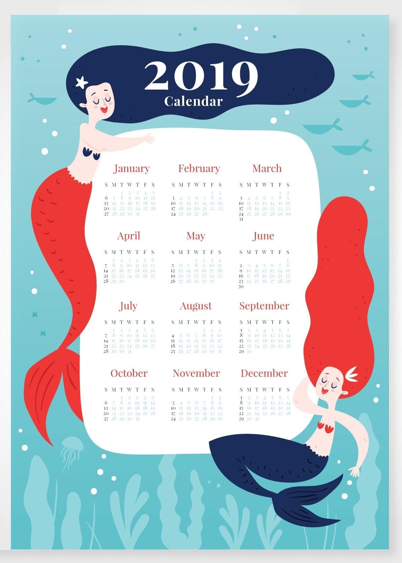 Latest 2019 Calendar Cute Design Free Printable Hd Formats