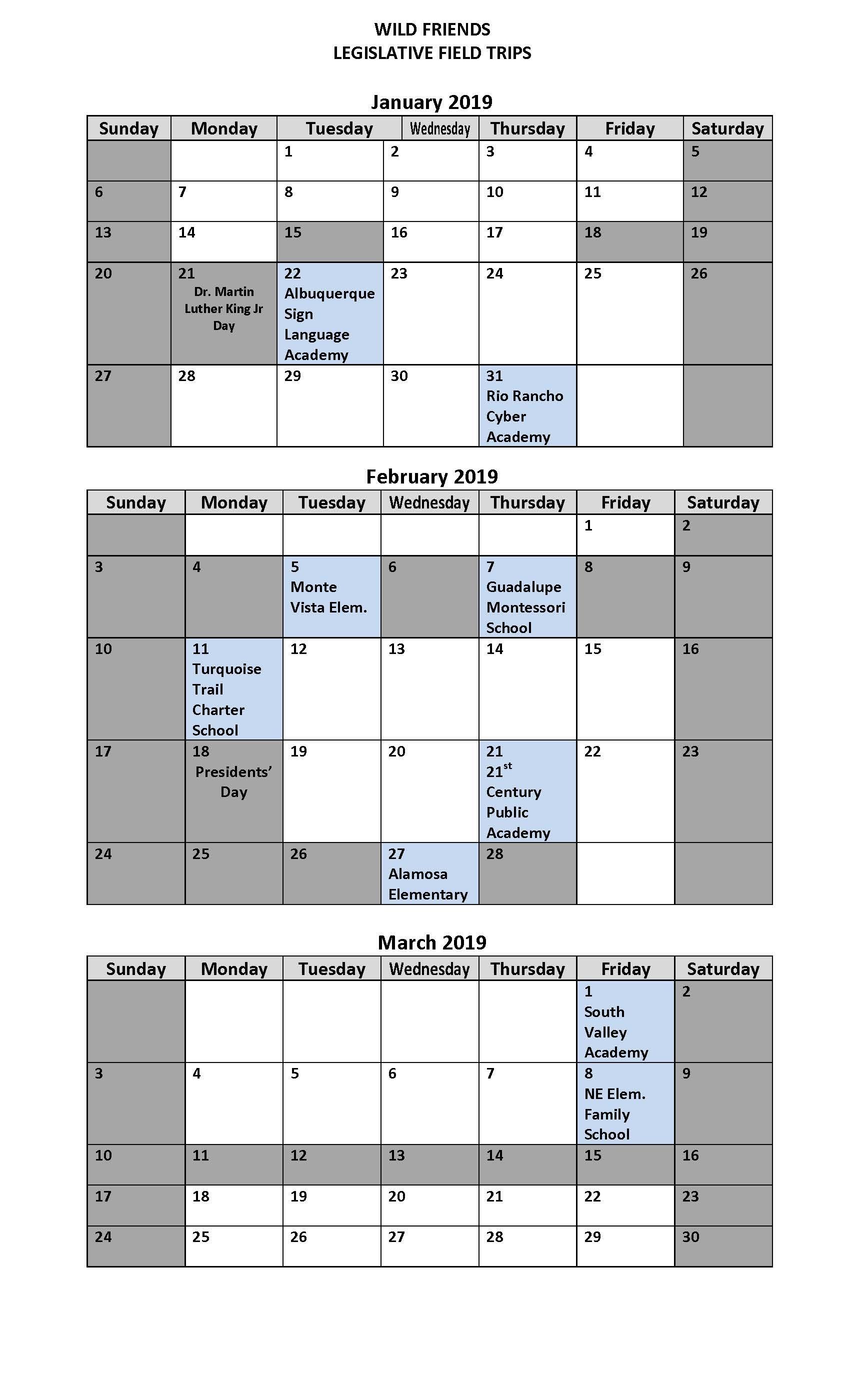 Legislative Calendar :: Wild Friends | The University Of New