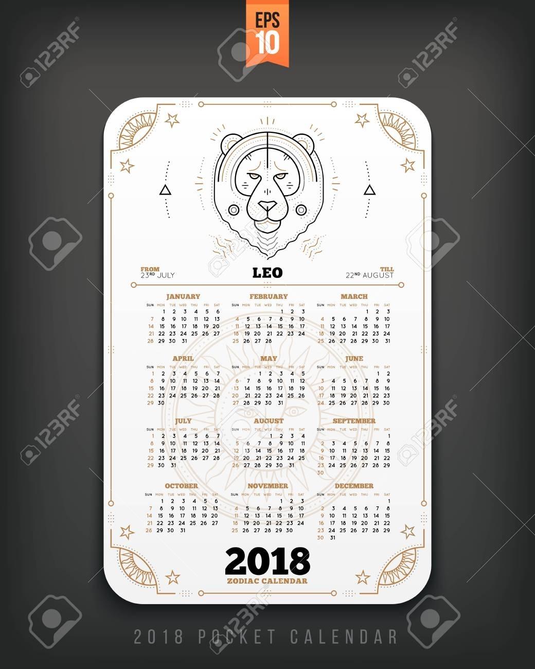 Leo 2018 Year Zodiac Calendar Pocket Size Vertical Layout. White..