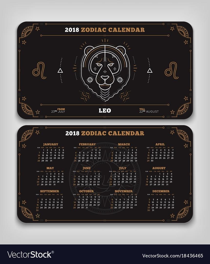 Leo 2018 Year Zodiac Calendar Pocket Size