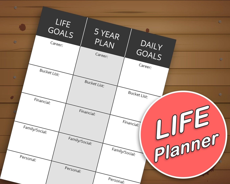 Life Planner Printable | Life Goals | 5 Year Plan | Daily Goal Sheet |  Personal Finance Goals | Bucket List Journal | Success Planner