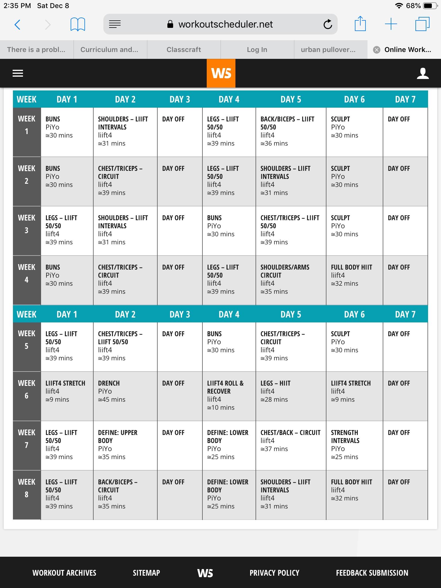 Liift4 And Piyo Hybrid Workout | Workout Calendar, Workout