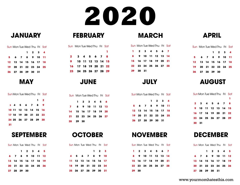 List Of Free 2020 Calendars