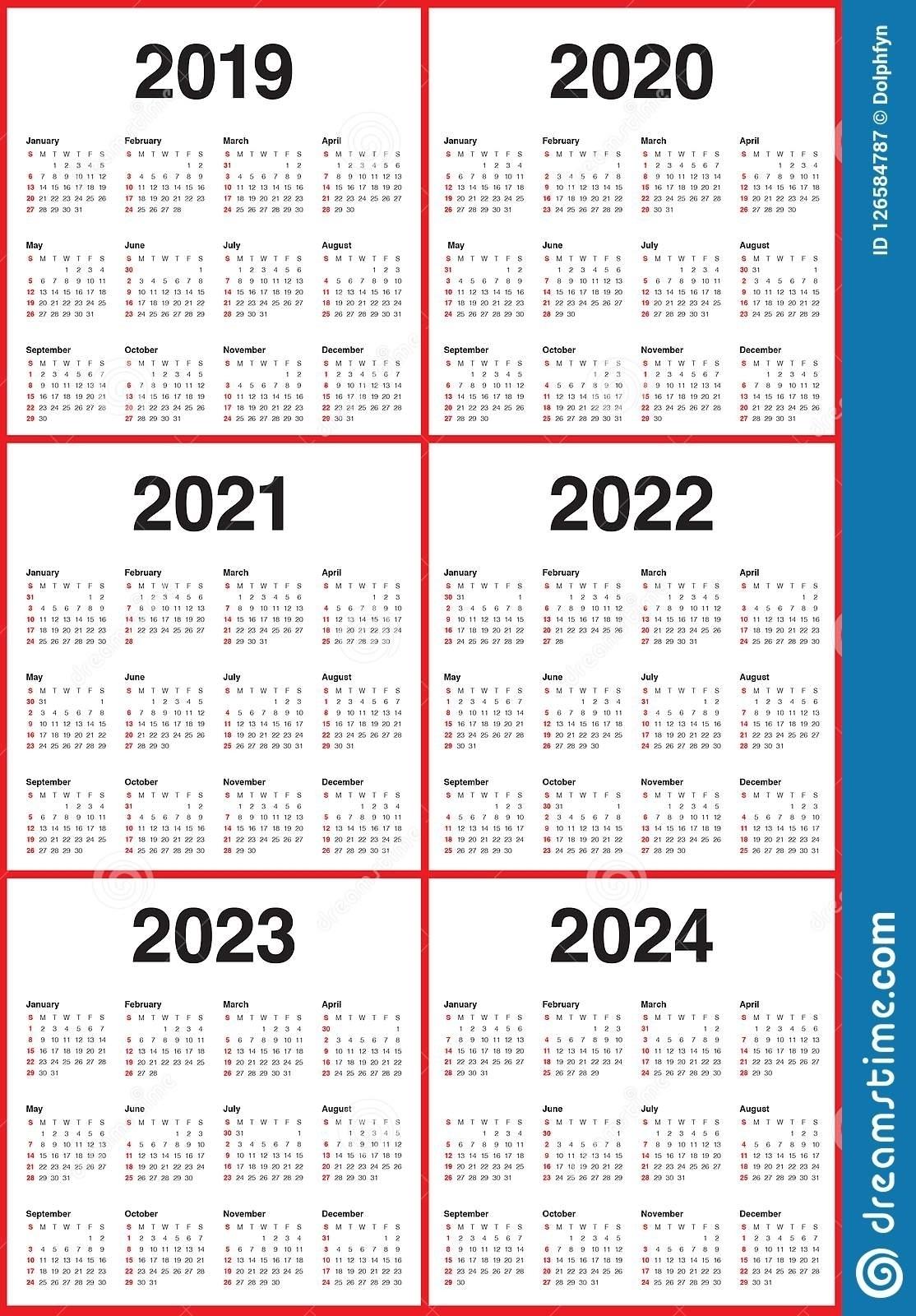 Lovely 3 Year Calendar 2022 To 2024 : Mini Calendar Template