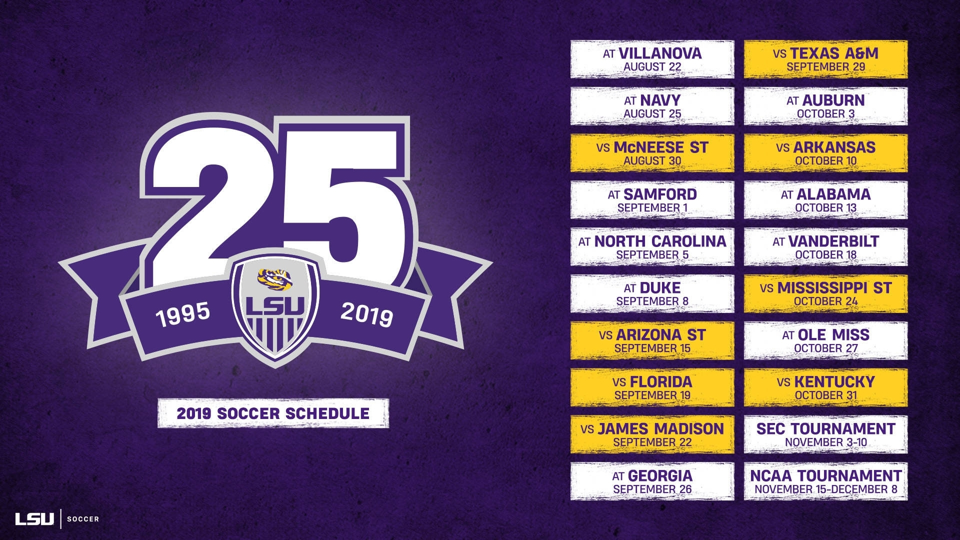 Lsu Soccer Announces 2019 Schedule - Lsu Tigers