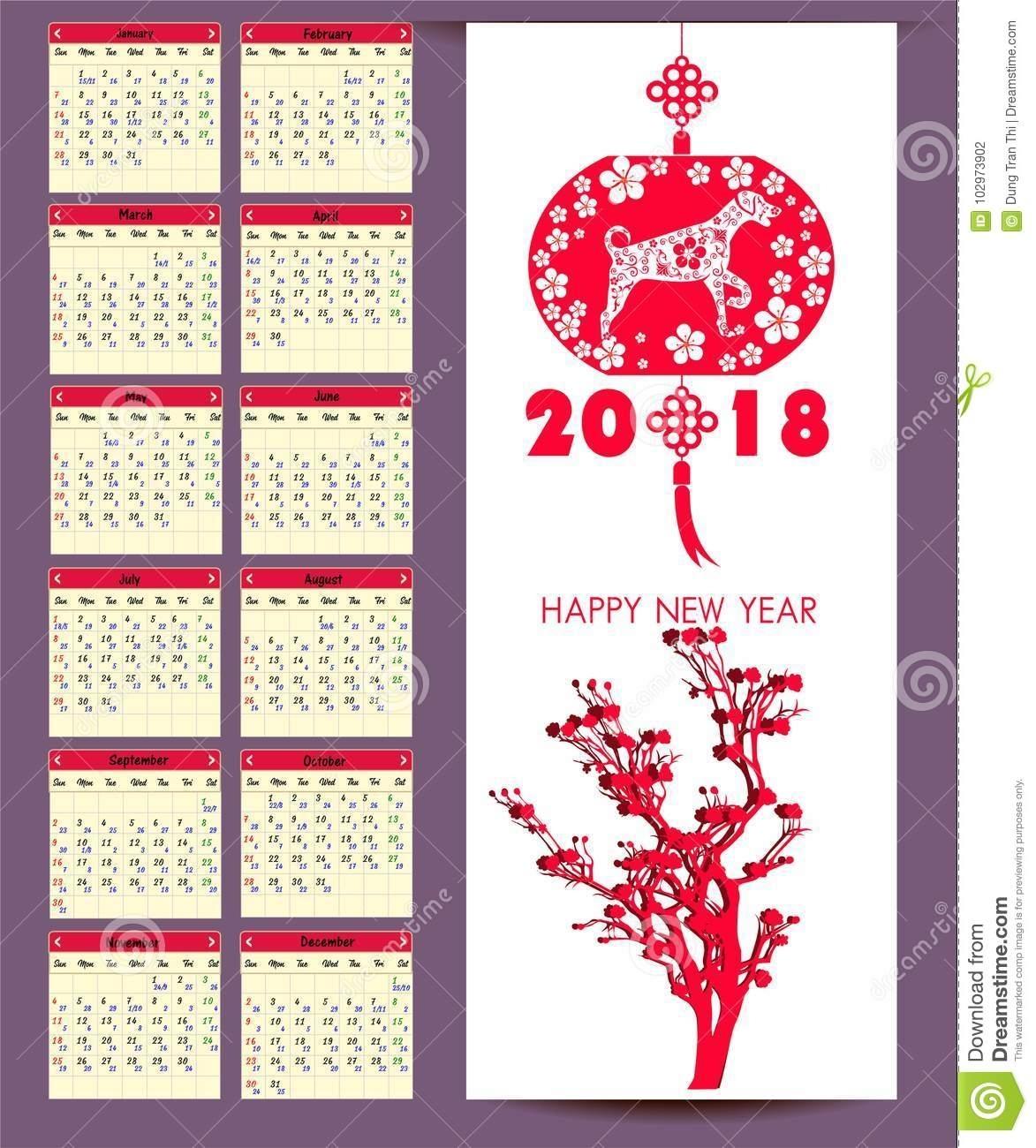 Lunar Calendar, Chinese Calendar For Happy New Year 2018