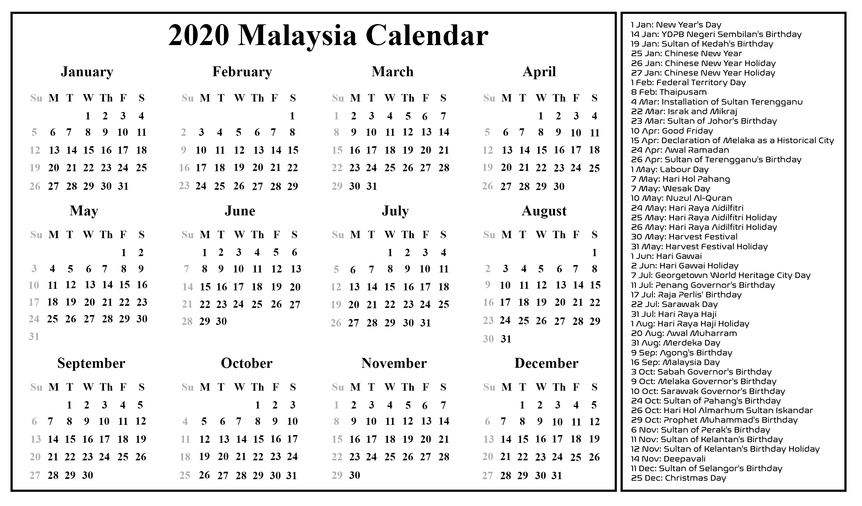 Malaysia Calendar 2020 Printable In 2019 | Printable