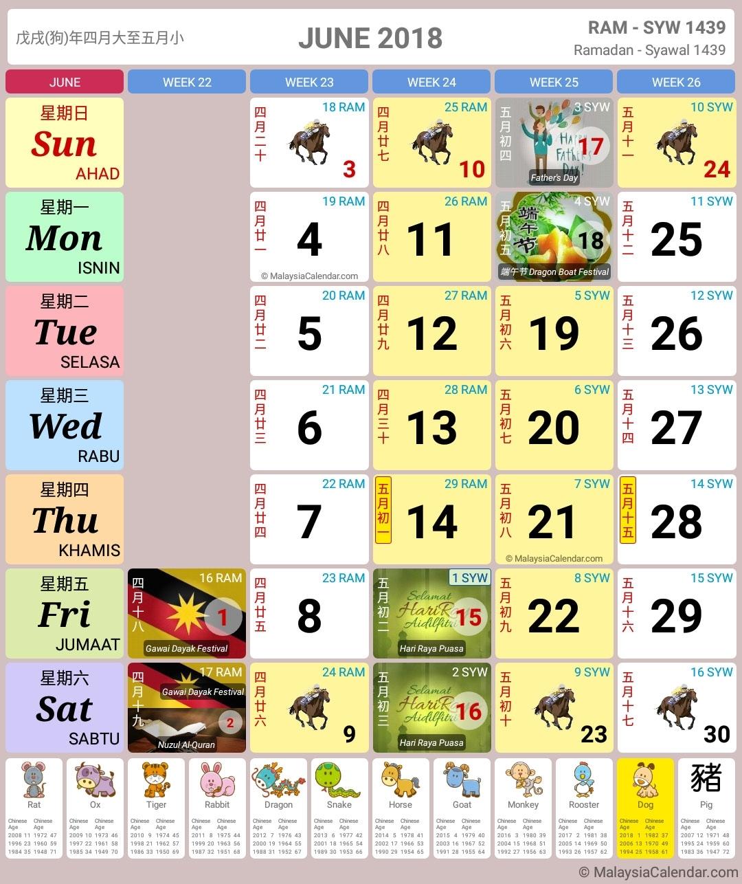 Malaysia Calendar Year 2018 (School Holiday) - Malaysia Calendar