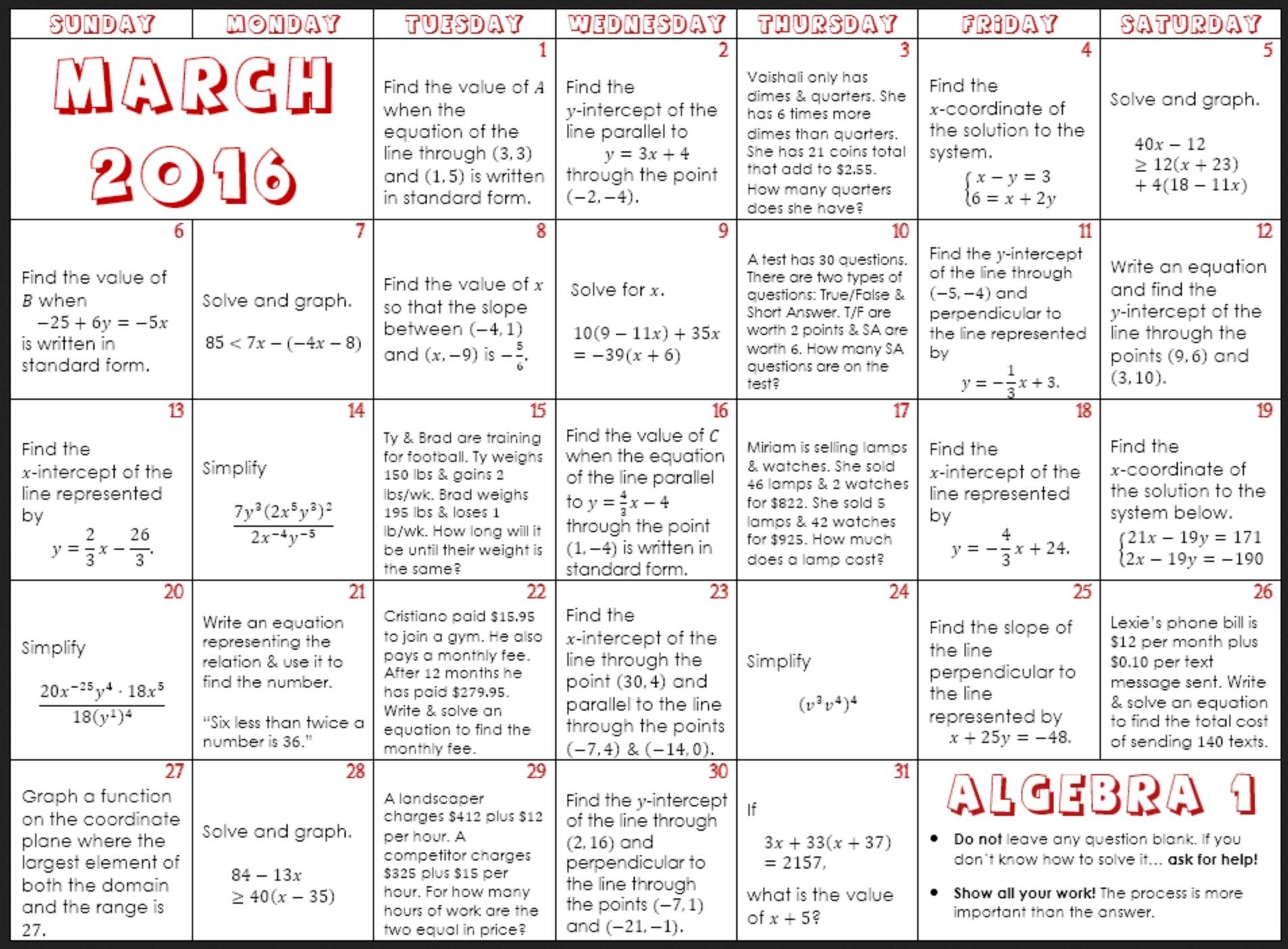 March 2016 Math Calendars – Denise Gaskins' Let's Play Math