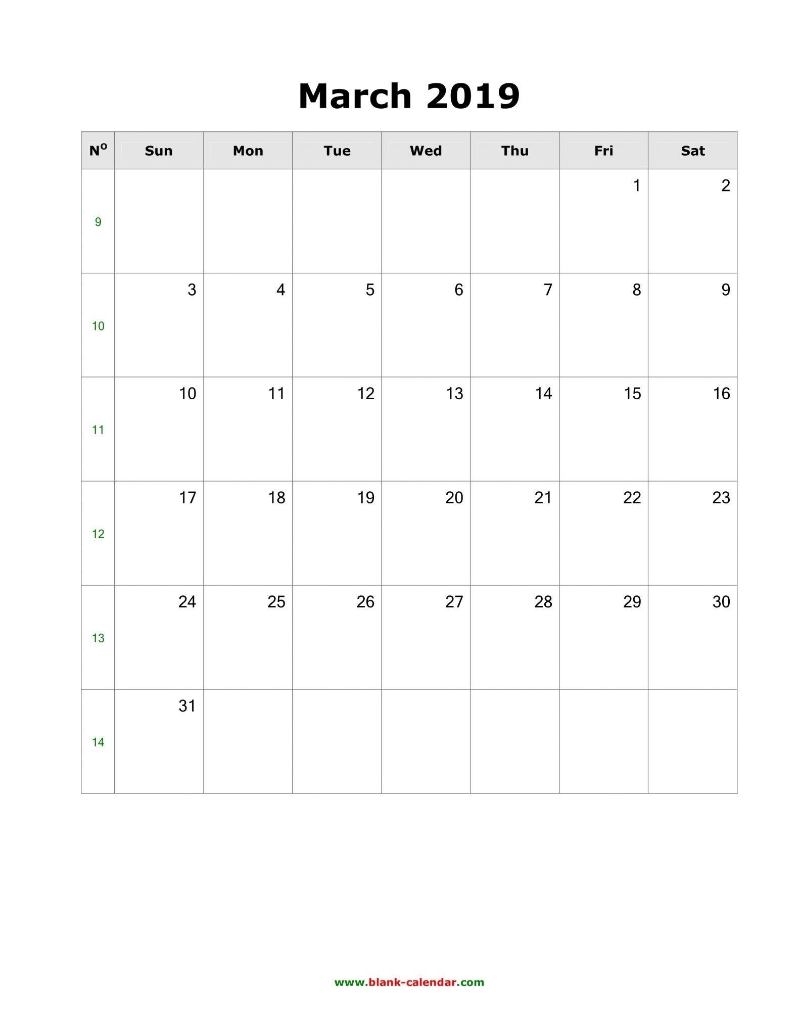 March 2019 Calendar A4 Size | March 2019 Calendar Printable