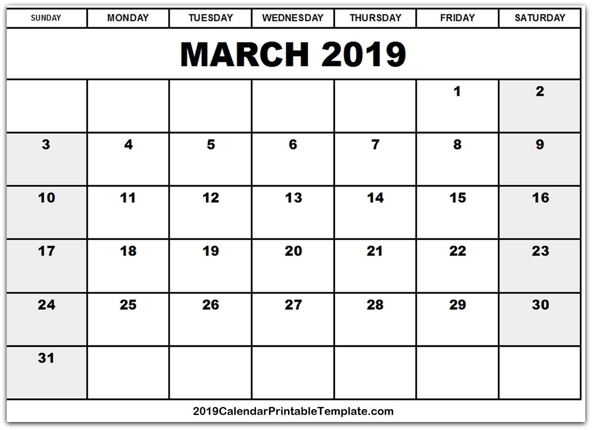 March 2019 Calendar Excel | March 2019 Calendar Printable