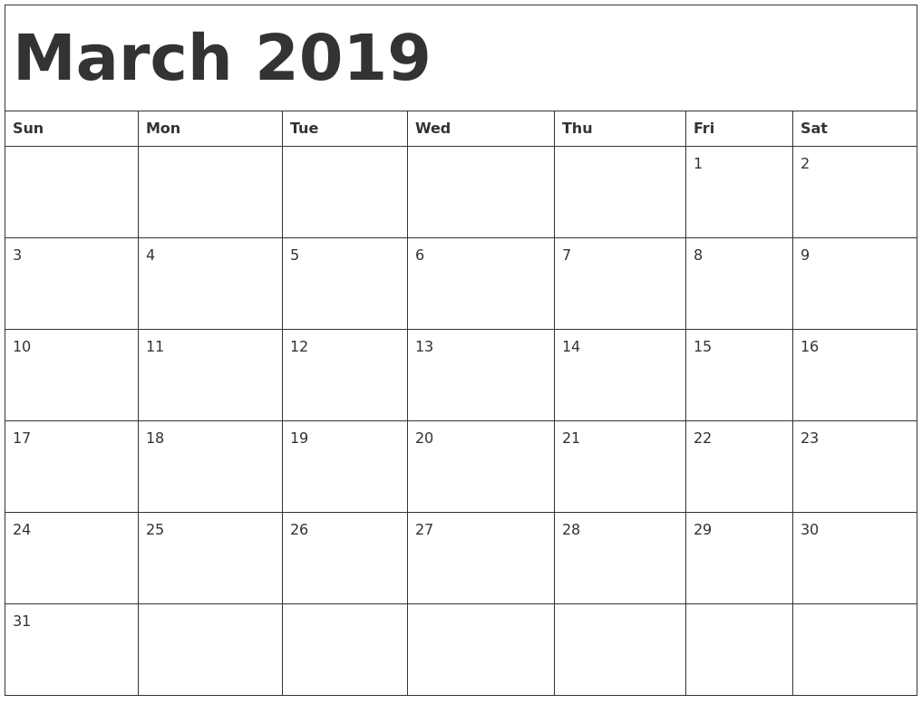 March 2019 Calendar Template Word #march #march2019